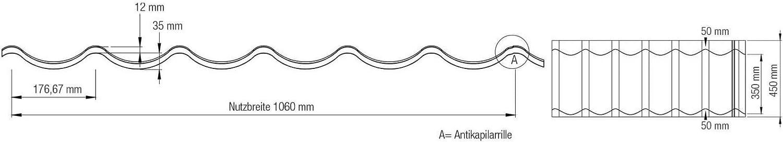 Profil PS47//1060RT Pfannenblech St/ärke 0,50 mm Dachziegelblech Ziegelblech Beschichtung 80 /µm Material Stahl Farbe Anthrazitgrau