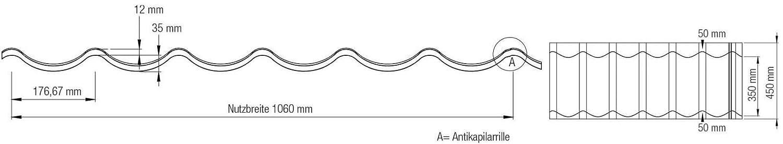 Farbe Weinrot Dachziegelblech Pfannenblech Beschichtung 25 /µm Material Stahl Profil PS47//1060RT Ziegelblech St/ärke 0,50 mm