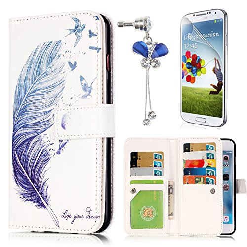 Lily Cell Phone Snap (Samsung Galaxy S6 Edge SM-G925 Case,Sunroyal Thin Luxury Fashion Flip PU Leather Magnet Stand Wallet Case Cover with Built-in 9 Card Slots [Bird's feather] Crystal Dustproof Pendant Screen Protector)