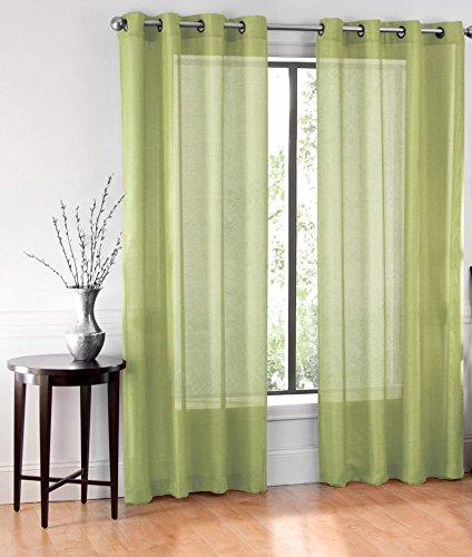 GorgeousHomeLinen (Ruby)Different Colors & Sizes 2 Pc Sheer Window Curtain Drape Panels 8 Soild Bronze Grommets (84