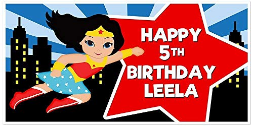 Super Girl Wonder Woman Superhero Light Skin Birthday Banner Red and Blue Party Backdrop -