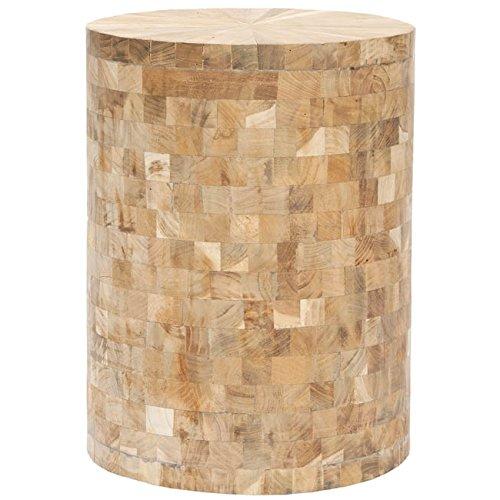 (Safavieh Home Collection Alaure Light Maple Teak Wood Stool)