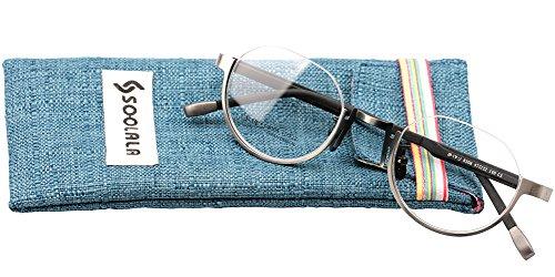SOOLALA Unisex Unique Round Semi-Rimless Eyeglasses Frame Retro Reading Glasses, +0.5, - Round Rimless Eyeglass Frames