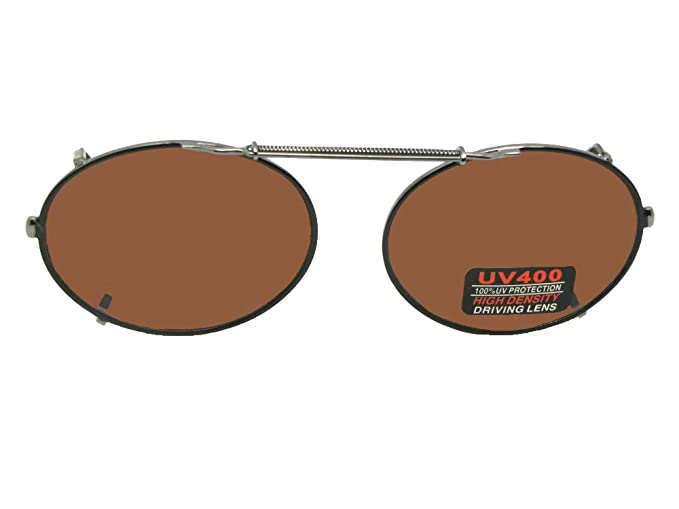 b5bd3c5de1 Oval Non Polarized Amber Driving Lens Clip On Sunglasses (Black Frame-Non  Polarized Amber