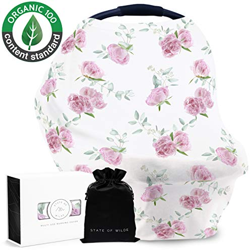 Organic Cotton Nursing Cover for Breastfeeding, Peony Floral, Baby Shower Gift, Multi Use Stretchy Canopy Cover Ups for Babies Car Seat Shopping Cart High Chair Stroller ()