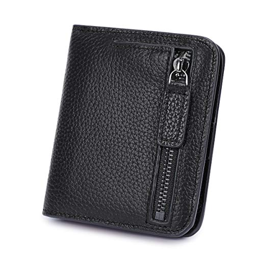 S-ZONE Womens Genuine Leather RFID Blocking Small Compact Bifold Pocket Wallet Ladies Mini Purse