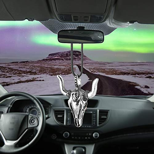 (BEMOST Car Pendant Ox Head Ship's Anchor with Skull Hanging Ornaments for Car Rear View Mirror Decoration Charm Car Accessories (Ox Head Design))