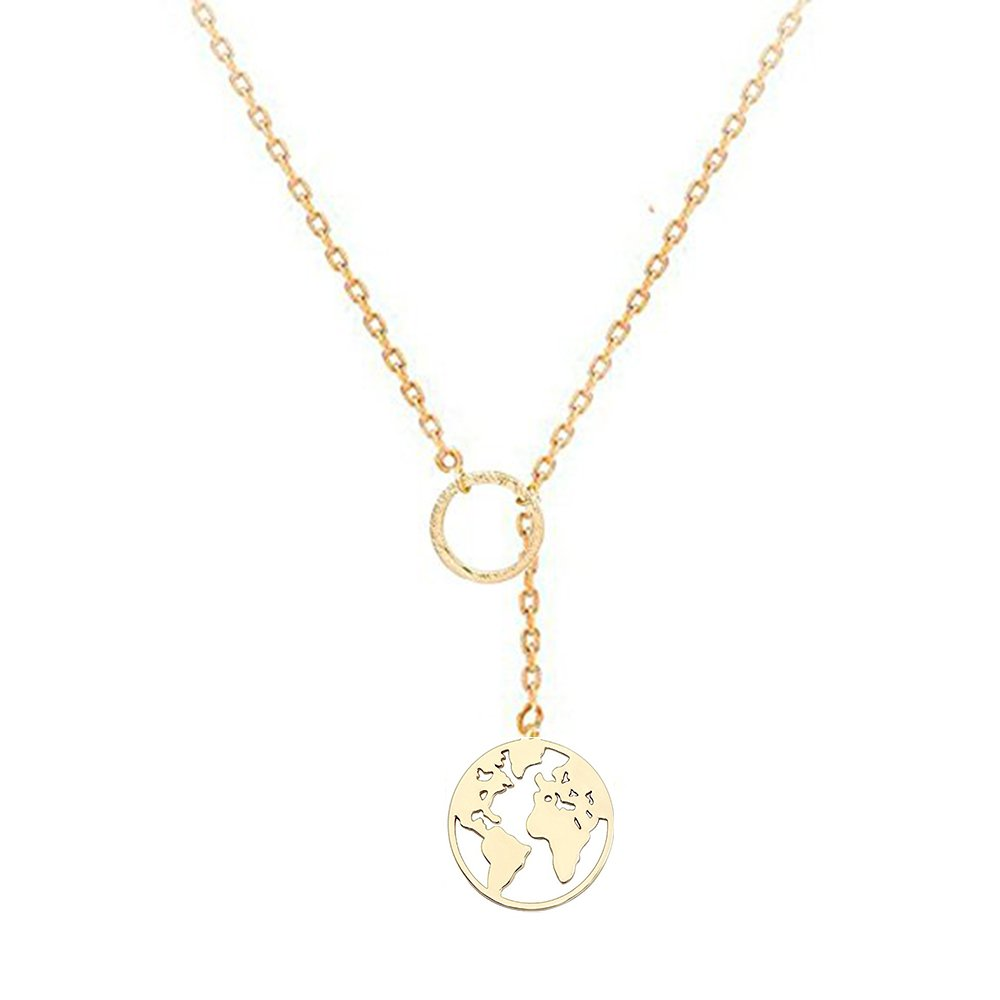 NOUMANDA Charm Tiny Circle Y Lariat Necklace Exquisite Round World Map Pendant Necklace Shanghai Ximai Trade Co. Ltd.