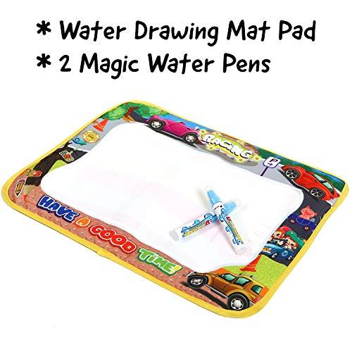"Water Drawing Mat & 2 Magic Pens , Medium 14.6x18.2"". Doodle Mat for Kids . No Mess Coloring . Play Mat for Toddlers 1 year old . Creative Learning Kids Art Set – Water Painting Magic Mat Pad"
