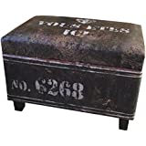 NACH FJ-14-1042B Rectangular Industrial Faux Leather Storage Stool and Ottoman, Black