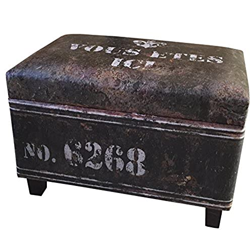 NACH FJ 14 1042B Rectangular Industrial Faux Leather Storage Stool And  Ottoman, Black