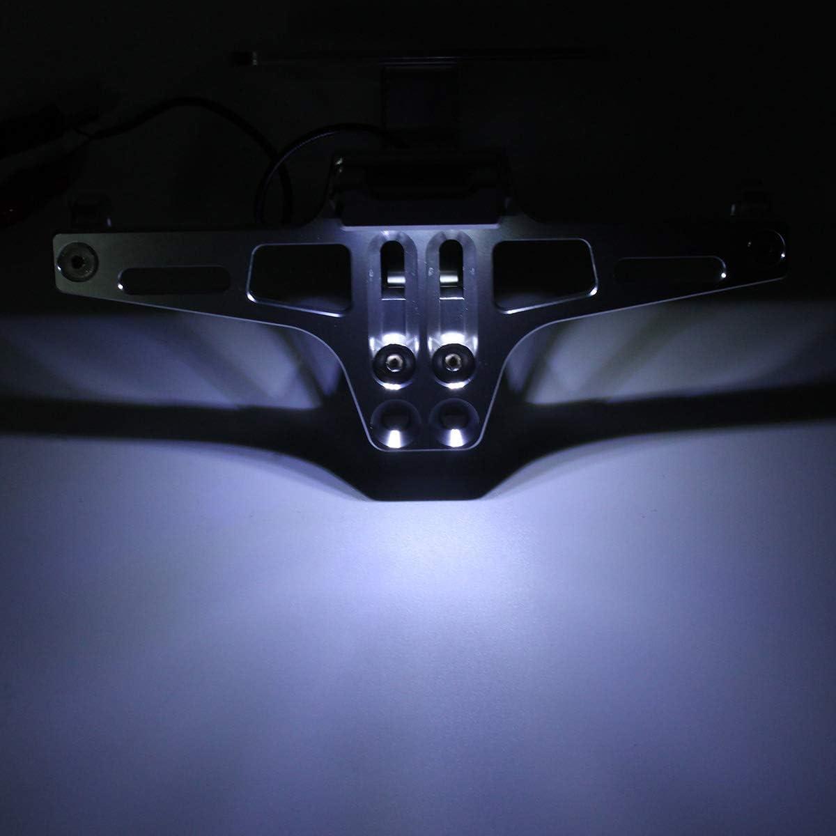 Dcolor CNC Frame Motorcycle License Plate Holder with LED Light Adjustable for Bws R25 R3 Mt03 Msx