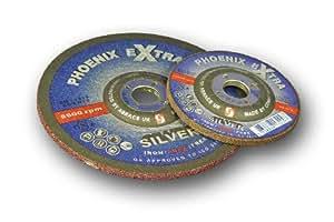 Abracs Phoenix - Disco de esmeril (100 x 6,5 x 16 mm, inoxidable, 5 unidades), color plateado