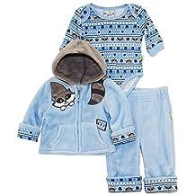 Duck Goose Baby Boys Cute Raccoon Sherpa Jacket Bodysuit 3Pc Pant Set, Blue, 6-9 Months
