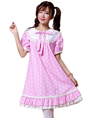 ezShe Womens Lace Short Puff Sleeves Baby-Doll Dress with Star Painting, XS Pink -