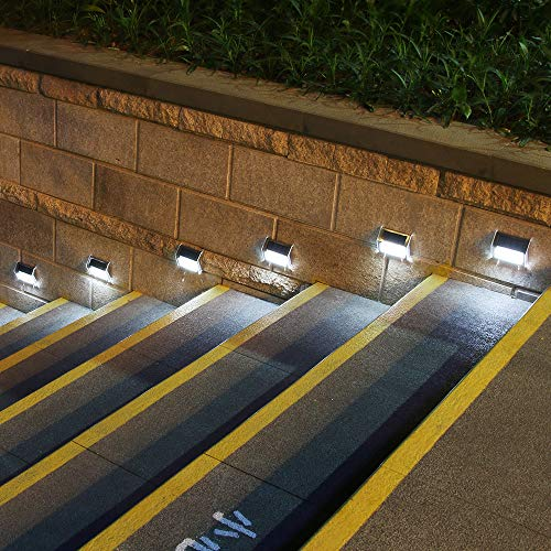 ([Upgraded 3 LED] HKYH Newest 6 Pack 3 LED Solar Bright Step Light Stairs Pathway Deck Garden Lamps Stainless Steel Wall Yard Outdoor Illuminates Patio Lamps)