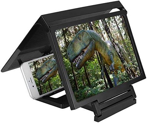 Screen Magnifier, Mobile Phone Vedio Magnifier 3D Video HD Magnifier Bracket Enlarge Screen (Black)