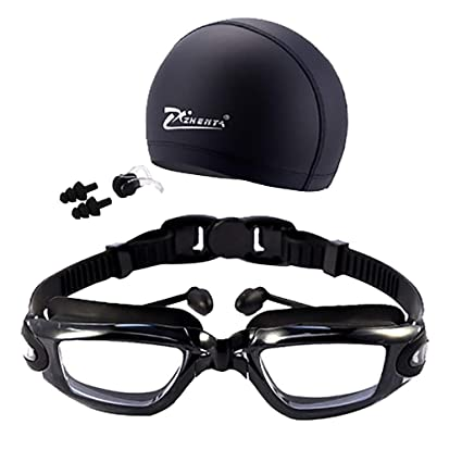 84fdbcea507 Amazon.com   Byyong Anti-Fog 4 in 1 Swimming Goggles + Swim Cap + Nose Clip  + Ear Plugs UV Protection No Leaking Lenses Fit for Adult Men Women Youth  Kids ...
