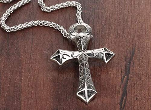 Stainless Steel Cross Men's Pendant Necklace | Vintage Wheat Link -