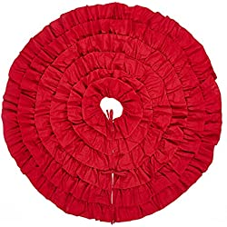 Lalent 48 Inches Red Burlap Ruffled Xmas Christmas Tree Skirt - Holiday Decoration for Gift Giving by