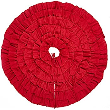 48 Inches Red Burlap Ruffled Xmas Christmas Tree Skirt - Holiday Decoration for Gift Giving by Lalent