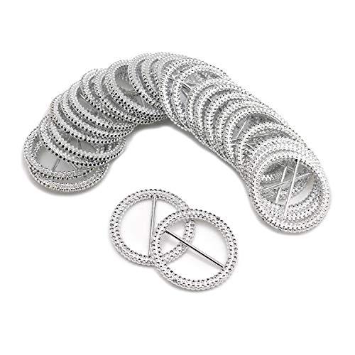 DGQ 60 Pcs 53 mm Round Silver Tone Acrylic Rhinestone Buckle Chair Sash Ribbon Slider ()