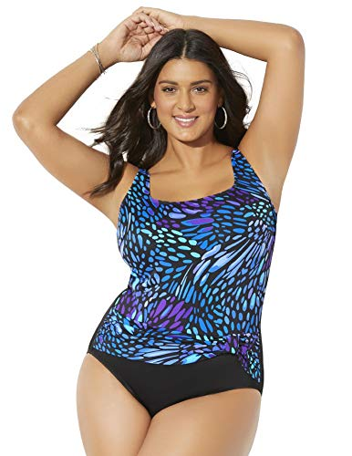 Swimsuits for All Women's Plus Size Longitude Tank One Piece Swimsuit 18 Multi - One Piece Longitude