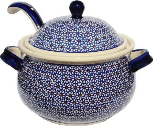 Polish Pottery Soup Tureen with Ladle Zaklady Ceramiczne Boleslawiec 1004/1367-120 Classic Pattern, 13.4 cups