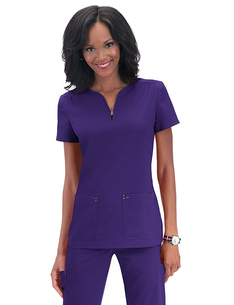 c65ab1f2fc6 Amazon.com: KOI Sapphire Women's Mara Y-Neck Solid Scrub Top: Clothing