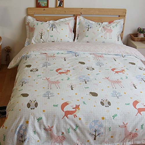 LELVA Owl Bedding Cartoon Animal Bedding Set 4 Piece Kids Bedding for Girls and Boys Cotton Plaid Bedding (Twin, Flat Sheet)