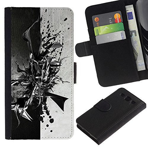 Funny Phone Case // Leather Wallet Protective Case with Slots for Money & Cards fit Samsung Galaxy S3 III I9300 /Black & White Abstract/