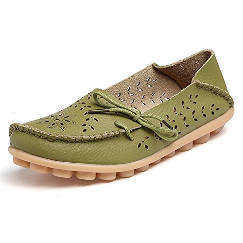 Blivener Mujeres Casual Con Cordones Mocasines Hollow Flat Zapatos Summer Slippers Grass Green