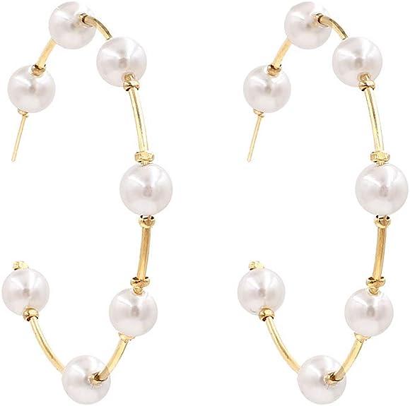 Pearl Hoop Earrings for Women Fashion Hypoallergenic Girls Pearl Earrings Drop Dangle Earrings Jewelry Gifts