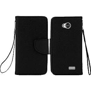 LG Tribute LS660 (Virgin Mobile) / LG Optimus F60 (Metro PCS) - Black PU Leather Wallet Pouch Magnetic Flip Cover Case + ATOM LED Keychain Flashlight