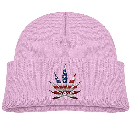 American Flag Hemp Leaf Baby Beanie Cap Thick Knitted Hat Warm Winter Hats