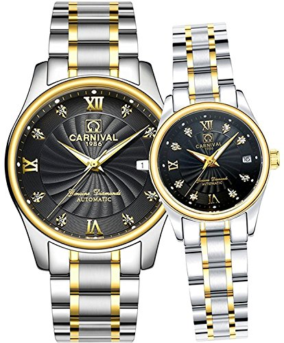 Couple Diamond Watches Automatic Full Steel CalendarWaterproof Swarovski Crystal Watch His and Hers of 2 (Silver Gold Black) (Automatic Crystal Womens Swarovski)