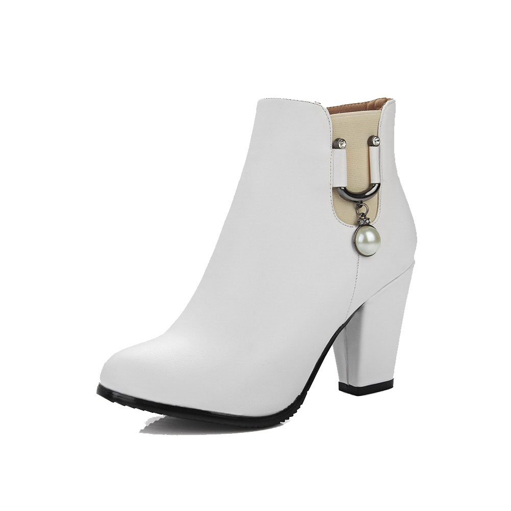 VogueZone009 Women's Low Top Solid Zipper Round Closed Toe High Heels Boots, White, 41