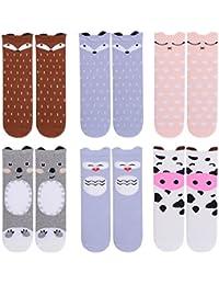 Unisex Baby Girls Socks,Gellwhu 6 Pairs Toddler Boy Animal Knee High Socks