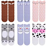 Unisex Baby Girls Socks - Gellwhu 6 Pairs Toddler Boy Animal Knee High Socks