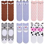 Unisex Baby Girls Socks,Gellwhu 6 Pairs Toddler Boy Animal Knee High Socks (1-3 Years, 6-Pack Set A)