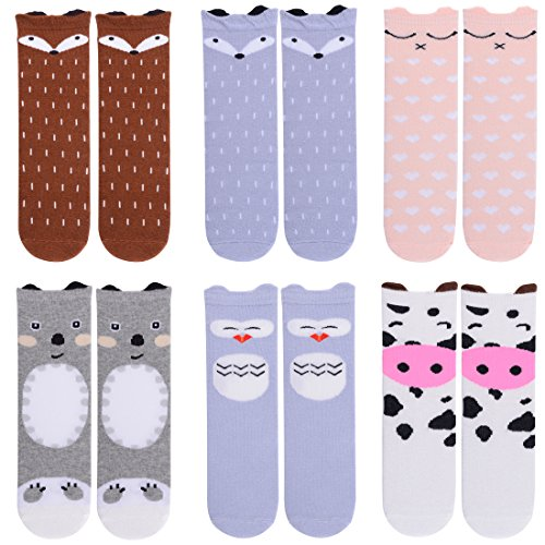 baby girl socks infant knee high socks long leg warmers stockings-cow-fox-animal(3-5 Years, 6-Pack Set A)