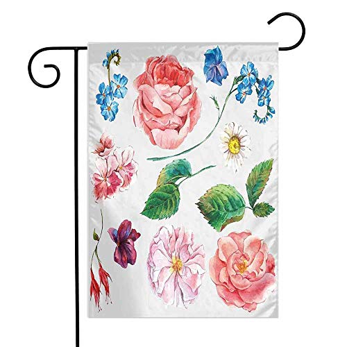 Floral Garden Flag Bouquet Set with Rose Daisy Petals and Branches Shabby Chic Vintage Picture Premium Material W12 x L18 Pink and ()