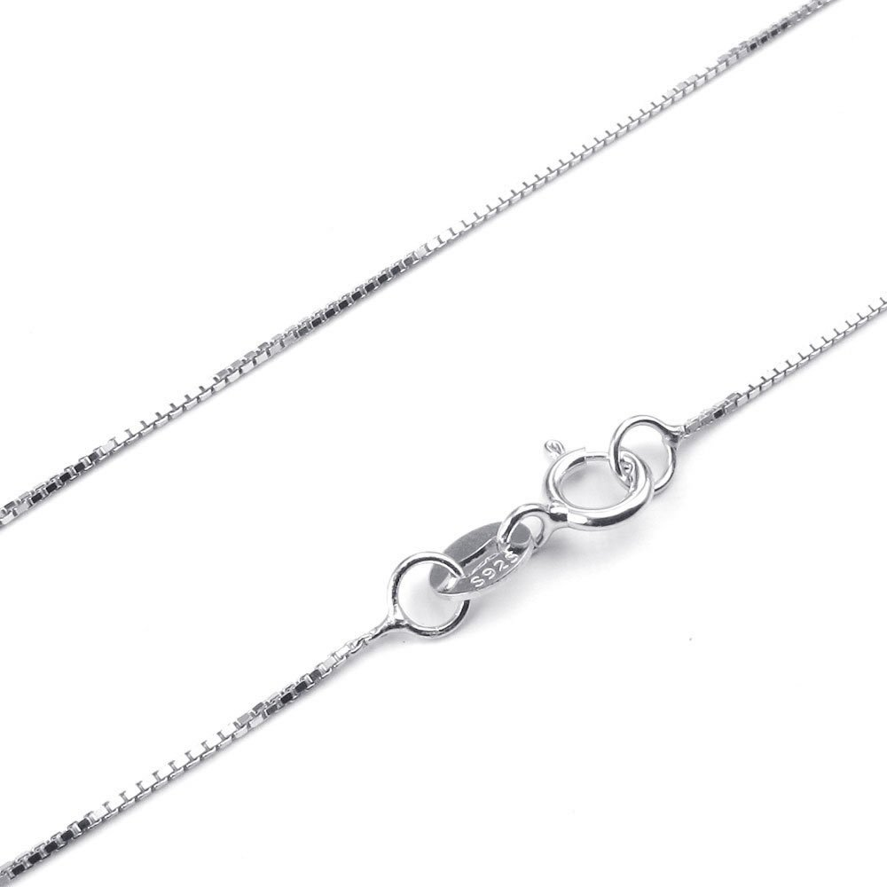 Konov Jewelry 925 Sterling Silver Womens Box Chain Necklace, Silver, Width 1mm, with Gift Bag Length 16 inch 100243832016C