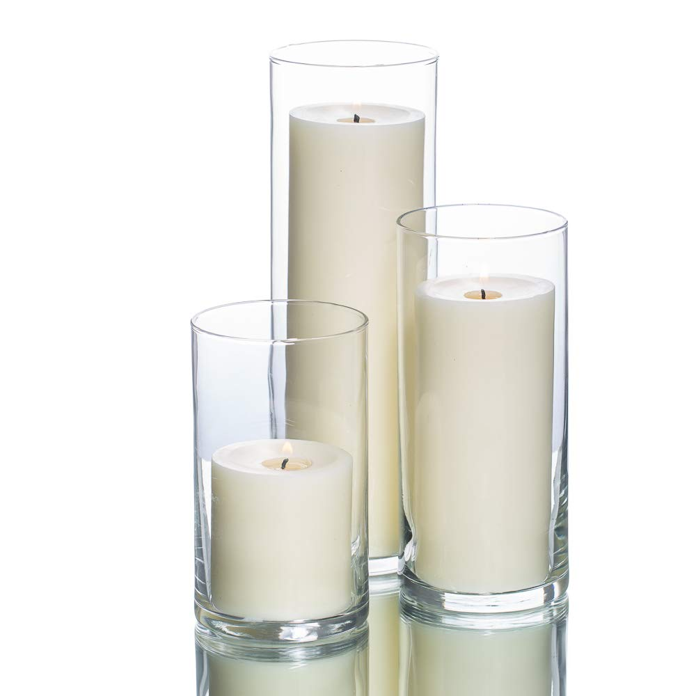 Richland Set of 36 Glass Eastland Cylinder Vases and 36 Pillar Candles Light Ivory 3''