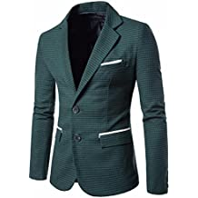 Littleice Mens Coat, Charm Men's Casual Slim Two Button Fit Suit Blazer Coat Lattice Jacket Tops