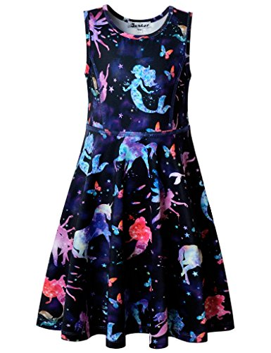 Jxstar Big Girls Dress Unicorn Printed for Skater Starry Pattern Sleeveless Dress Starry Unicorn 160]()