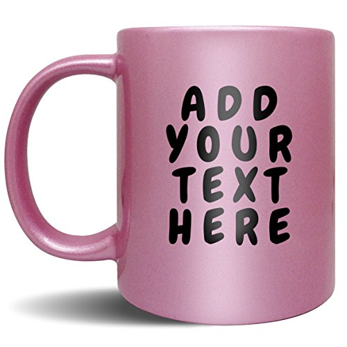Custom Coffee Mugs - ADD YOUR NAME TEXT LETTERS - Personalized Ceramic Cups - Monogram Novelty Mug Pink Coffee Photo