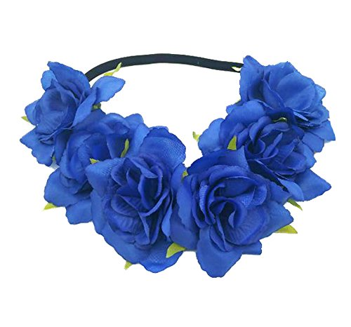 Floral Fall Rose Holiday Christmas Crown Festival Headbands Hippie Flower Headpiece F-53 (Royal Blue)