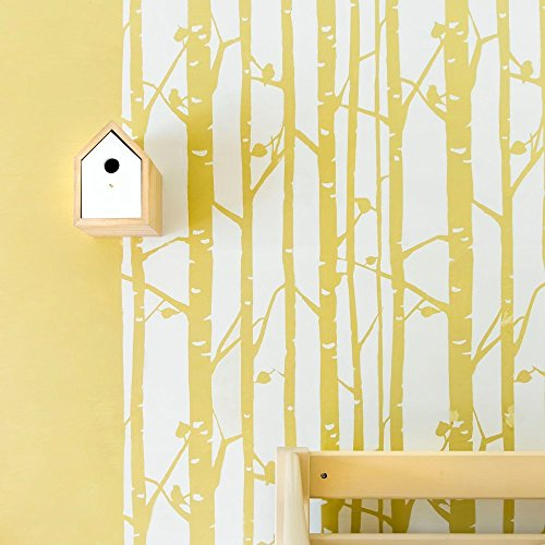 kid wallpaper usa mylar. Birch Forest Wall Stencil For Painting - Expedited 3 Days Delivery Tree Accent Reusable Template Large Mylar Washable Plastic Repeatable Kid Wallpaper Usa