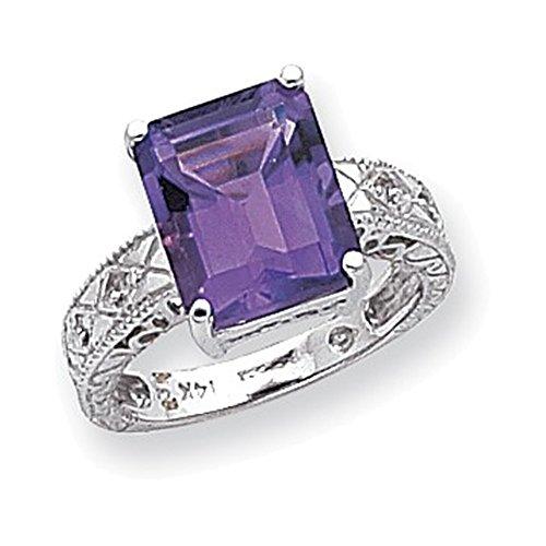 Jewelry Adviser Rings 14k White Gold .02ct. Diamond & 12x10 Emerald-cut Gemstone Ring Mounting